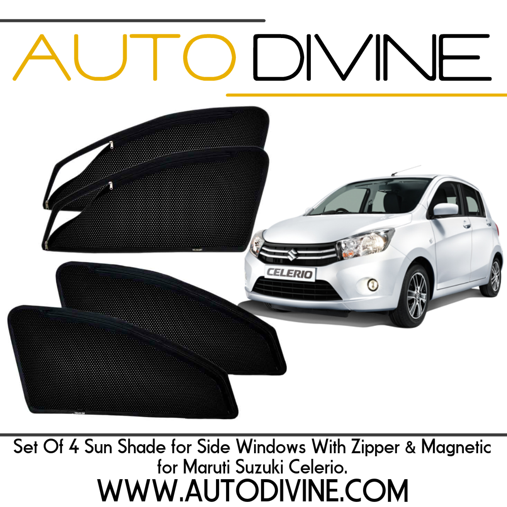 Category : Car Accessories Premium Quality Zipper Magnetic Sun Shades Car Curtain About Product - Zipper magnetic sunshades for driver and co-driver to increase ease of use. They are made from high quality Materials which protects your car from high degree direct sun rays, It also Provide 70% protection from UV RAYS, They Covers windows Edge to Edge and stick with the frame using magnets. No tool is required for installation , no need to drill or damaging body, Installation will not interfere with windows operation. They Provide safe visibility while driving. Custom Design, Steel Material, Imported Zipper with 3 months warranty. Assured Quality in every respect Material: Nylon Polyester Mesh with Metallic Frame Imbedded with Magnets Color: Black Dimensions: Customized as per vehicle Weight: Approx. 1kg for Set of 4 Mount Type: Magnetic - Clings to car door frame Assembly details: Open the car door and place the sun shades on the window frame (metallic part) the magnets will automatically snap on Magnetic Smart and sleek sun shades fit your car's front and rear windows to help keep out the suns UV rays and protect your passengers and upholstery from excess light and heat. Magnates on the edges keep the shades securely in place even when the window is down on high speeds. Made with a precise accuracy with exact size of your car window. Unlike conventional window tinting, the shade materials create a layer against the sun's heat. As the glass gets hot, heat radiates off the surface of the window. The window shade material creates a layer that will hold back hot air, allowing the car's AC system to be more effective. Features: No Screw or Drilling required Sun and heat protection for drivers, car interiors and cargo Vehicle specific Magnetic window sun shades Block UV radiation Made by finest mesh cloth Reduces interior temperatures and increases privacy Simple & Quick Installation and Removal Magnetic mounting in the edges of the sun shade Shipping Information All orders will be shipped within 48 hours of receiving cleared payment through an appropriate courier partner. Its our sincere request to provide appropriate contact numbers which are required by our courier partners to contact you. FEEDBACK We work very hard to serve every individual customer with at most efficiency and respect, hence we will highly appreciate if you provide us POSITIVE FEEDBACK in case we are able to meet your expectation as a token of mutual respect, this will help us to serve you better in future. Contact US You can feel Free to mail us on : support@autodivine.com Thank You & Warm Regards AutoDivine.com
