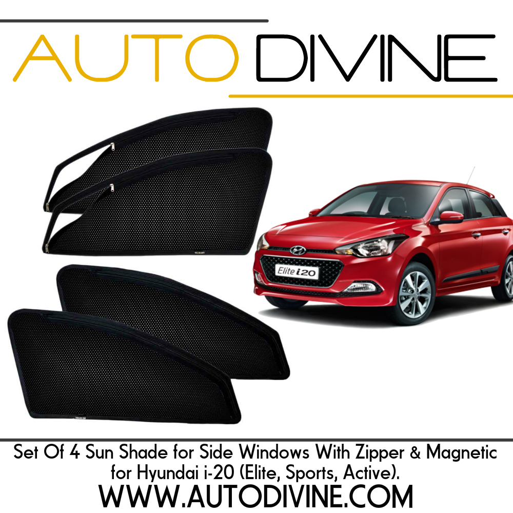 hyundai I 20 elite, Car Accessories Side Window Zipper Magnetic Sun Shade, Set of 4 Curtains.