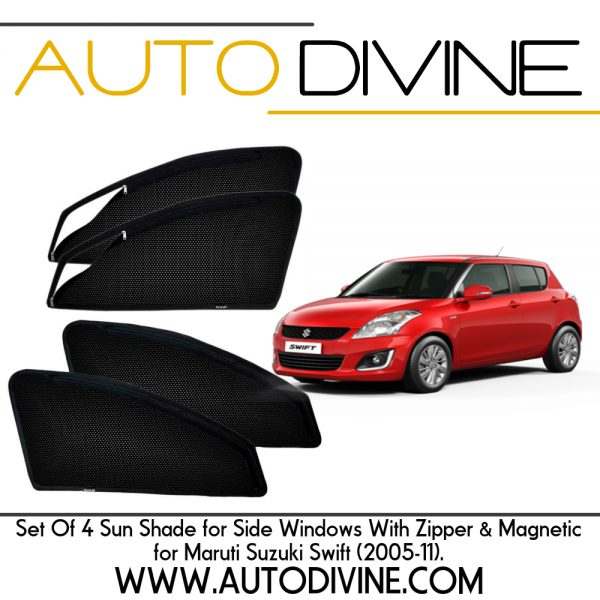 Category : Car Accessories Premium Quality Zipper Magnetic Sun Shades Car Curtain About Product - Zipper magnetic sunshades for driver and co-driver to increase ease of use. They are made from high quality Materials which protects your car from high degree direct sun rays, It also Provide 70% protection from UV RAYS, They Covers windows Edge to Edge and stick with the frame using magnets. No tool is required for installation , no need to drill or damaging body, Installation will not interfere with windows operation. They Provide safe visibility while driving. Custom Design, Steel Material, Imported Zipper with 3 months warranty. Assured Quality in every respect Material: Nylon Polyester Mesh with Metallic Frame Imbedded with Magnets Color: Black Dimensions: Customized as per vehicle Weight: Approx. 1kg for Set of 4 Mount Type: Magnetic - Clings to car door frame Assembly details: Open the car door and place the sun shades on the window frame (metallic part) the magnets will automatically snap on Magnetic Smart and sleek sun shades fit your car's front and rear windows to help keep out the suns UV rays and protect your passengers and upholstery from excess light and heat. Magnates on the edges keep the shades securely in place even when the window is down on high speeds. Made with a precise accuracy with exact size of your car window. Unlike conventional window tinting, the shade materials create a layer against the sun's heat. As the glass gets hot, heat radiates off the surface of the window. The window shade material creates a layer that will hold back hot air, allowing the car's AC system to be more effective. Features: No Screw or Drilling required Sun and heat protection for drivers, car interiors and cargo Vehicle specific Magnetic window sun shades Block UV radiation Made by finest mesh cloth Reduces interior temperatures and increases privacy Simple & Quick Installation and Removal Magnetic mounting in the edges of the sun shade Shipping Information All orde
