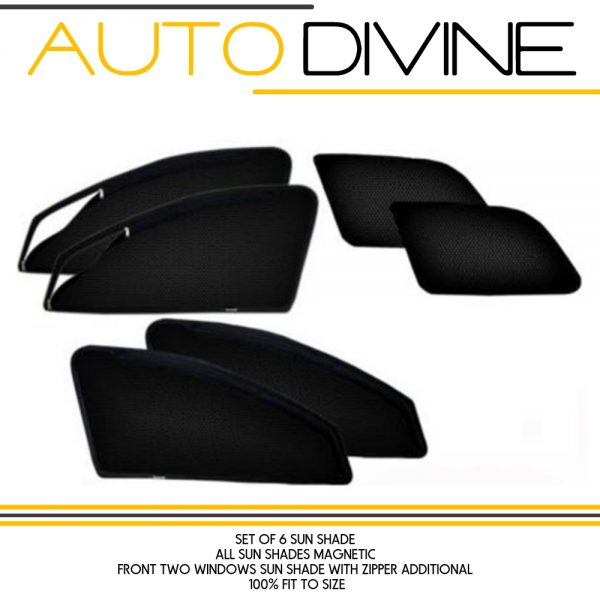 "Category : Car Accessories Premium Quality Zipper Magnetic Sun Shades Car Curtain About Product - Zipper magnetic sunshades for driver and co-driver to increase ease of use. They are made from high quality Materials which protects your car from high degree direct sun rays, They Covers windows Edge to Edge and stick with the frame using magnets. No tool is required for installation , no need to drill or damaging body, Installation will not interfere with windows operation. They Provide safe visibility while driving. Custom Design, Steel Material, Imported Zipper with 3 months warranty. Product Description - 100% fit to size Brand ""Auto Divine"" Car Zipper Magnetic Sun Shades Made Specifically Though Premium Quality Mesh Cloth With Perfect Fitting Material Used is Imported High Quality Net Mesh Cloth Black Color Magnetic Curtains With Magnets Which Will Snap On The Window Frame Zips Are Provided On Driver + Co Driver Seats To Increase The Ease Of Use How to Install: Open The Doors. Place the magnetic curtain on the window frame and the magnets will snap on the frame. Magnetic curtains can be attached only after the doors are opened not otherwise. In the box 1 Big Zipper Bag 2 Front zipper magnetic sun shade 2 Rear Magnetic Sun Shades Note: **The Real Product Can vary from the Images shown Very Important*** Please Check your mobile number and address information is updated and compete Dispatch Time: We usually Dispatch the item Next Day Maximum Dispatch Time 3 Days Payment Very Simple Payment Procedure You Can Pay Through Debit/ Credit Card or Internet Banking & Various Digital Wallets. After Placing an Order You Will Receive Confirmation Email & Sms. You Need To Confirm The Receipt of The Item When You Receive The Item. Contact US You can feel Free to mail us on : support@autodivine.com Feedback Your FEEDBACK is very valuable So please give a 100% Positive Feedback and We Will Give Our Best :) Happy to serve Do leave a feedback on purchase : Learn about your trading partners, view their reputations, and express your opinions by leaving Feedback on your transactions. These member-to-member ratings and comments help the millions of buyers and sellers in the Community build trust. Thank You & Warm Regards AutoDivine.com"