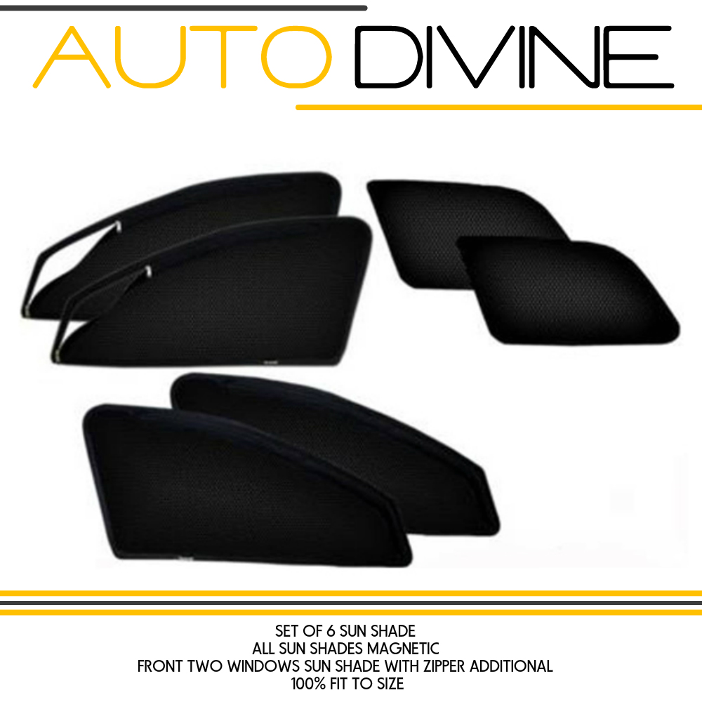 Audi Q 7, Car Accessories Side Window Zipper Magnetic Sun Shade, Set of 6 Curtains.